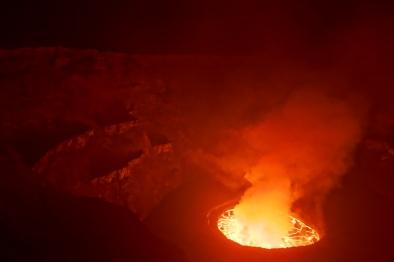 Kaum, dass man den Krater in der Nacht erkennt.